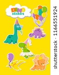 set of funny dinosaurs stickers ... | Shutterstock .eps vector #1166551924