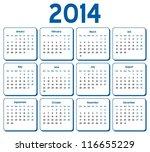 vector   calendar 2014 | Shutterstock .eps vector #116655229