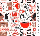 coffee seamless pattern.vector... | Shutterstock .eps vector #1166558227