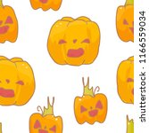seamless patterns with pumpkins.... | Shutterstock .eps vector #1166559034