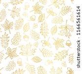 gold foil autumn leaves... | Shutterstock .eps vector #1166561614