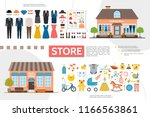flat clothing and kids shops... | Shutterstock .eps vector #1166563861
