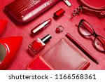 woman red accessories  jewelry  ... | Shutterstock . vector #1166568361