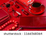 red woman accessories with... | Shutterstock . vector #1166568364