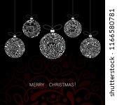 merry christmas 2019 card with... | Shutterstock .eps vector #1166580781