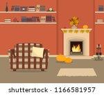 orange living room with... | Shutterstock .eps vector #1166581957