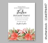 red poinsettia christmas party...   Shutterstock .eps vector #1166596447