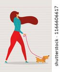 Stock vector girl walking with dog vector illustration in a flat style 1166606617