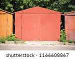 old and rusty metal double gate ... | Shutterstock . vector #1166608867