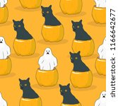halloween seamless pattern.... | Shutterstock .eps vector #1166642677
