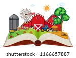farmland on open book... | Shutterstock .eps vector #1166657887