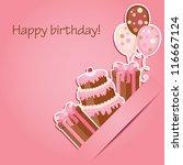 pink birthday card   Shutterstock . vector #116667124