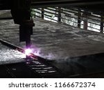 plate cutting from cnc | Shutterstock . vector #1166672374