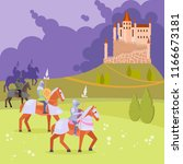 medieval scene with armored... | Shutterstock .eps vector #1166673181