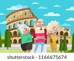 smiling old people doing selfie ... | Shutterstock . vector #1166675674