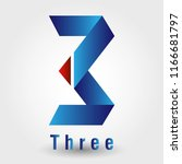 number 3 shaped logo is made of ... | Shutterstock .eps vector #1166681797
