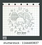 cute doodle bunny with easter... | Shutterstock .eps vector #1166683837