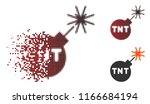 tnt bomb icon in fractured ... | Shutterstock .eps vector #1166684194
