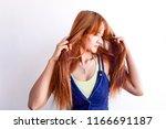 closeup portrait of female...   Shutterstock . vector #1166691187