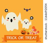 happy halloween kids party... | Shutterstock .eps vector #1166692054