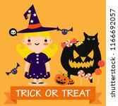 happy halloween kids party... | Shutterstock .eps vector #1166692057
