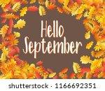 hello september autumn leaf... | Shutterstock .eps vector #1166692351