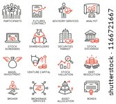vector set of linear icons... | Shutterstock .eps vector #1166721667
