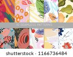 collection of seamless patterns.... | Shutterstock .eps vector #1166736484