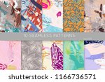 collection of seamless patterns.... | Shutterstock .eps vector #1166736571