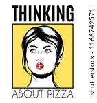 thinking about pizza. vector... | Shutterstock .eps vector #1166742571