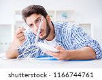 frustrated young man due to... | Shutterstock . vector #1166744761