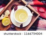 healthy ginger tea  ginger root ... | Shutterstock . vector #1166754004