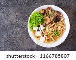 vegan noodle soup with tofu... | Shutterstock . vector #1166785807