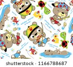 vector seamless pattern of cute ... | Shutterstock .eps vector #1166788687