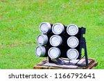 close up of led spotlights in... | Shutterstock . vector #1166792641