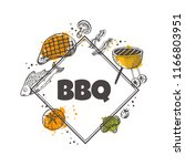 bbq concept design. grill house.... | Shutterstock .eps vector #1166803951