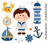 boy dressed in nautical sailor... | Shutterstock . vector #1166812441
