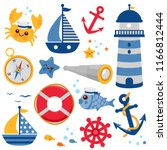 collection of sailor and... | Shutterstock . vector #1166812444