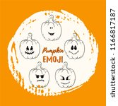 set of pumpkin emotions. vector ... | Shutterstock .eps vector #1166817187