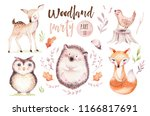 Stock photo cute baby fox deer animal nursery rabbit and bear isolated illustration for children watercolor 1166817691