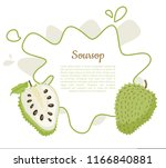 soursop whole and cut fruit in... | Shutterstock .eps vector #1166840881
