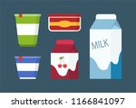 dairy products set in carton... | Shutterstock .eps vector #1166841097