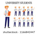 vector set of students with... | Shutterstock .eps vector #1166842447