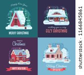 christmas cards set with forest ... | Shutterstock . vector #1166845861