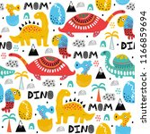 pattern with dino dinosaur with ... | Shutterstock . vector #1166859694