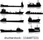 set of silhouettes of the sea... | Shutterstock .eps vector #116687221
