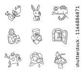 Stock vector alice in wonderland vector icons 1166886871