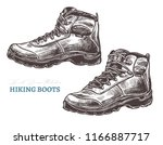 hand drawn hiking boots.... | Shutterstock .eps vector #1166887717