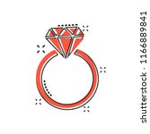 vector cartoon engagement ring... | Shutterstock .eps vector #1166889841