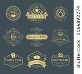 wedding labels and badges...   Shutterstock .eps vector #1166892274